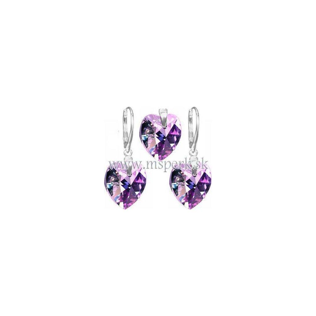 Exkluzívny set SWI crystal 18 mm v tvare srdca fialová farba