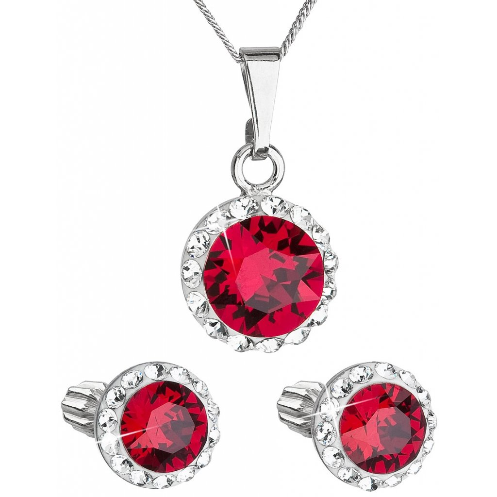 Súprava šperkov okrúhly model so Swarovski crystals - červená farba