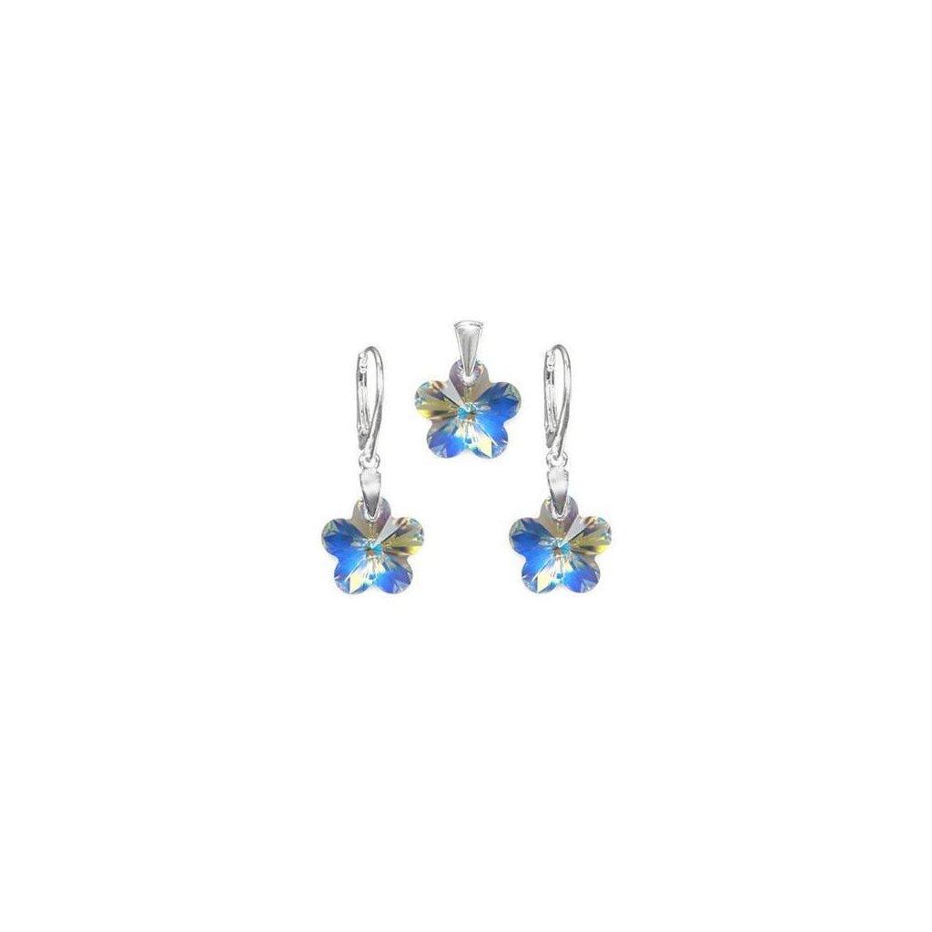 Exkluzívny set SWI crystal v tvare kvietku s modrým odleskom