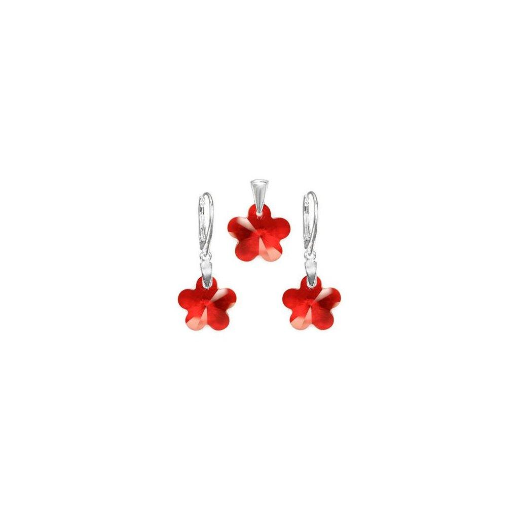 Exkluzívny set SWI crystal v tvare kvietku červená farba