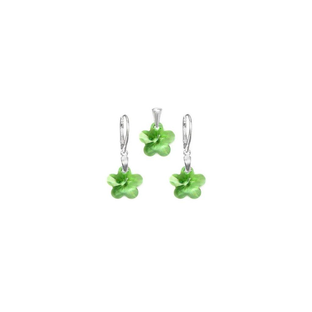 Exkluzívny set SWI crystal v tvare kvietku zelená farba