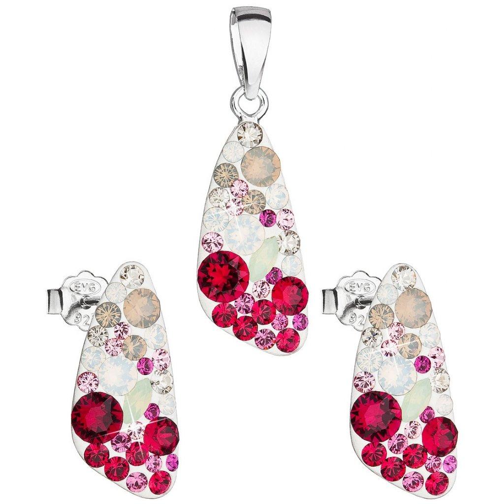 Dámska súprava šperkov so Swarovski Crystals - Sweet Love ružová farba