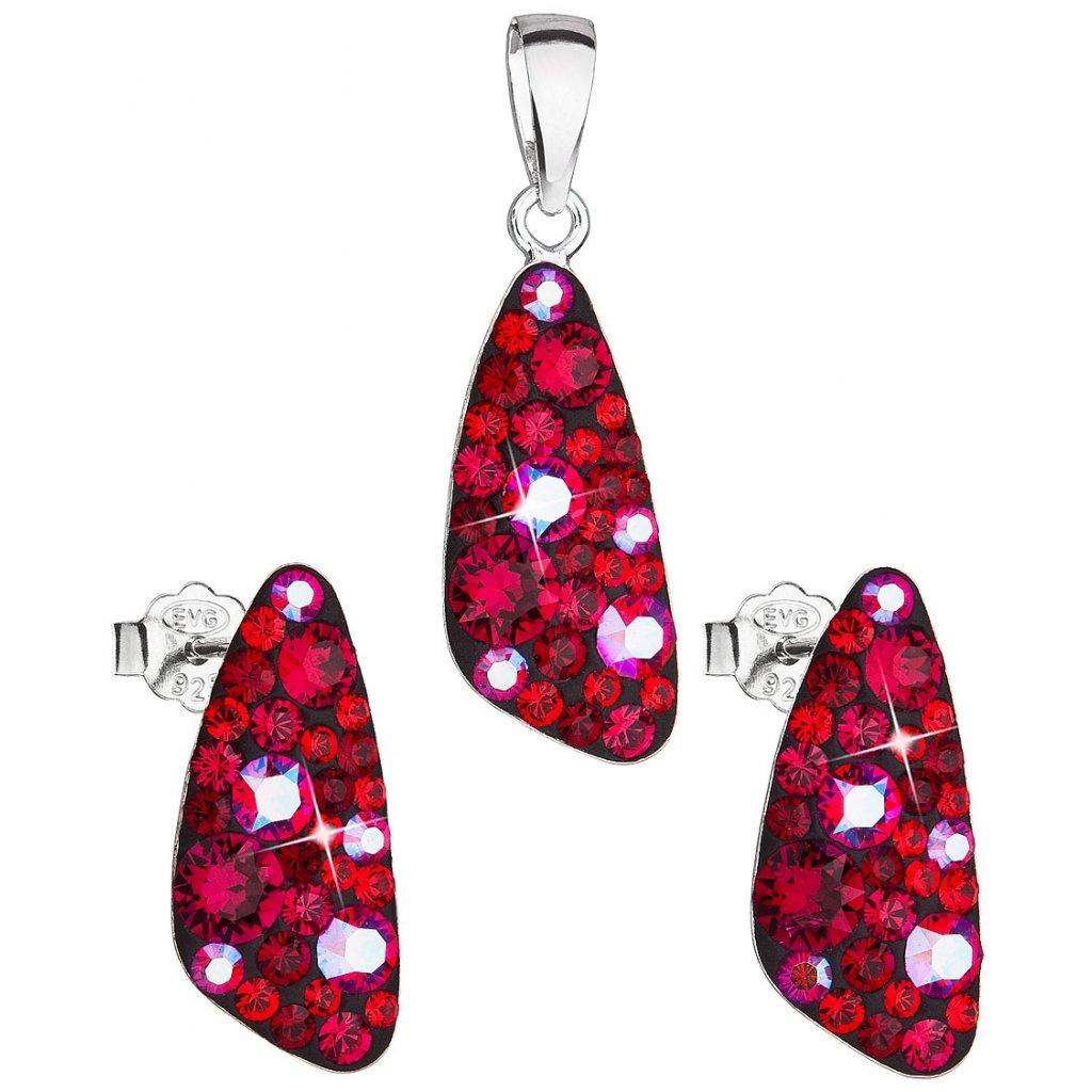 Dámska súprava šperkov so Swarovski Crystals - Cherry červená farba