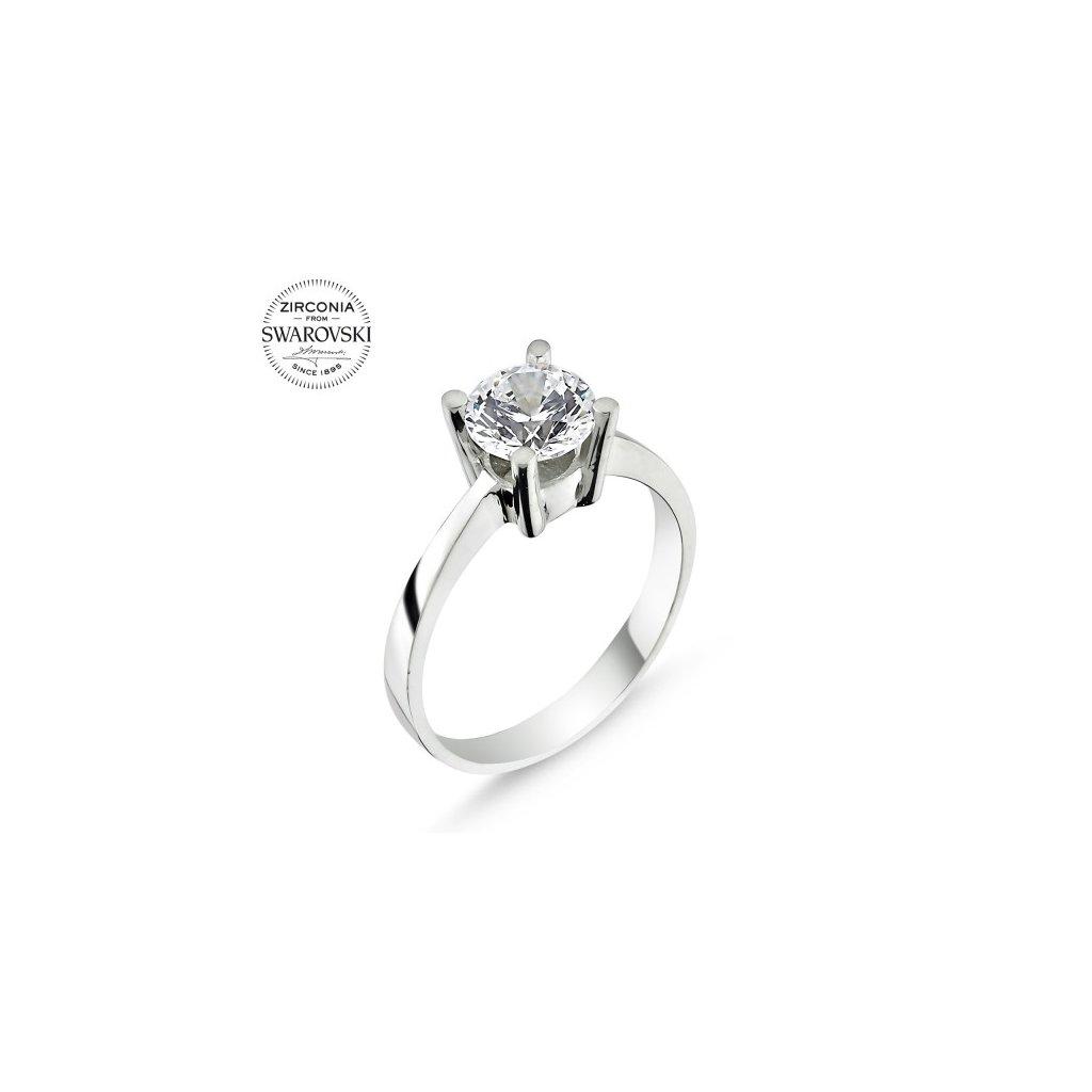 Strieborný dámsky prsteň so Swarovski zirkónom  Striebro 925/1000: 2 g + RH