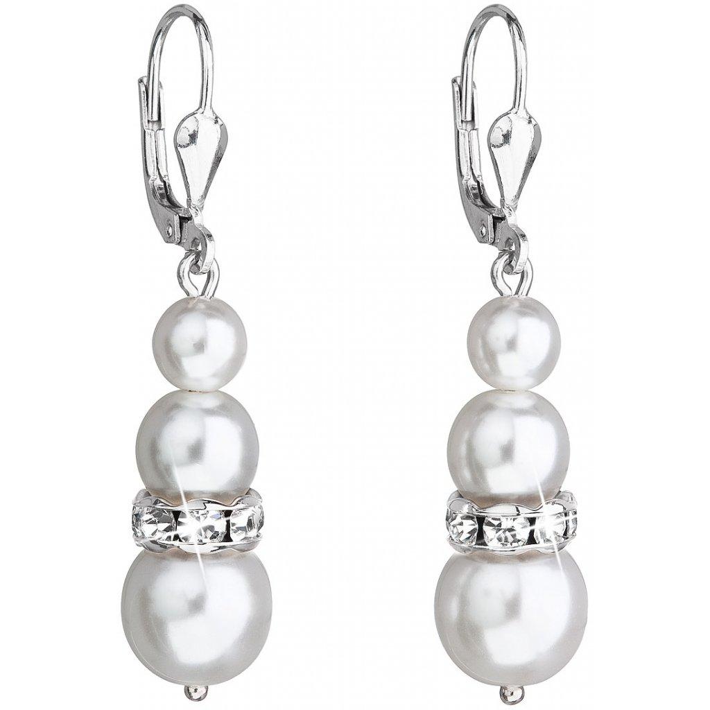 f3d32a0e8 Strieborné dámske visiace náušnice so Swarovski crystals, biele guľaté