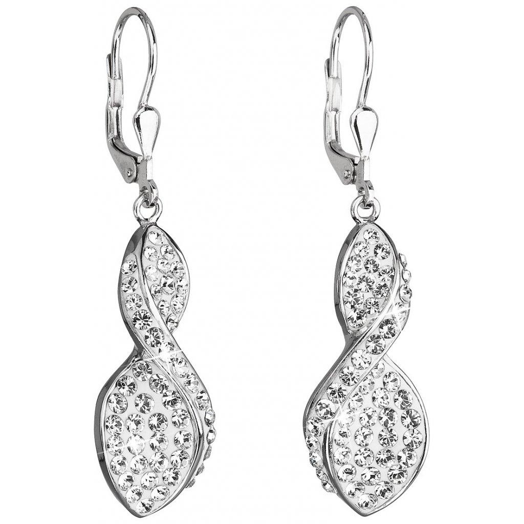 852fe9706 Strieborné dámske visiace náušnice so Swarovski crystals biele špirály