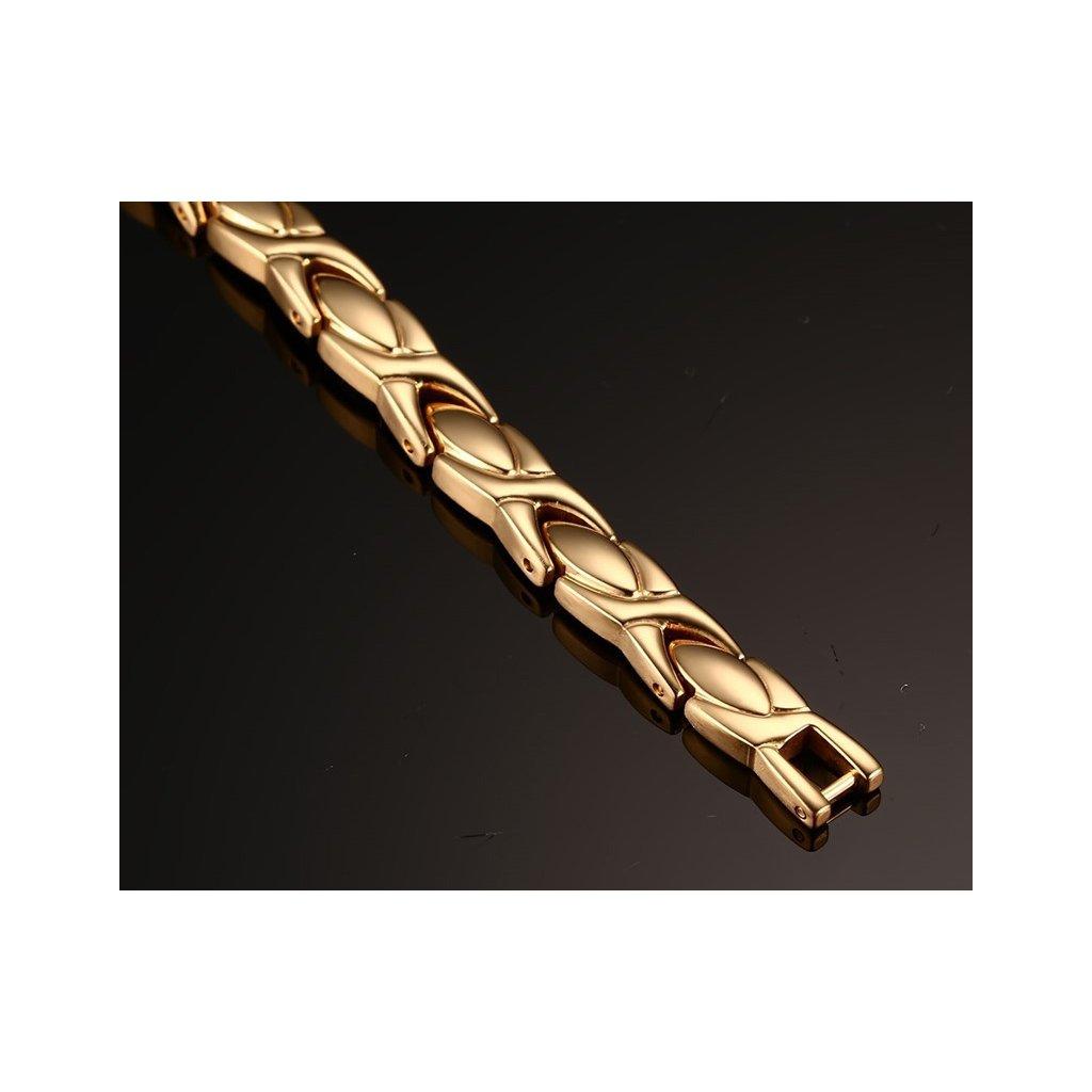 4cfc7100a Magnetický náramok z chirurgickej ocele zlatej farby - mŠperk.sk