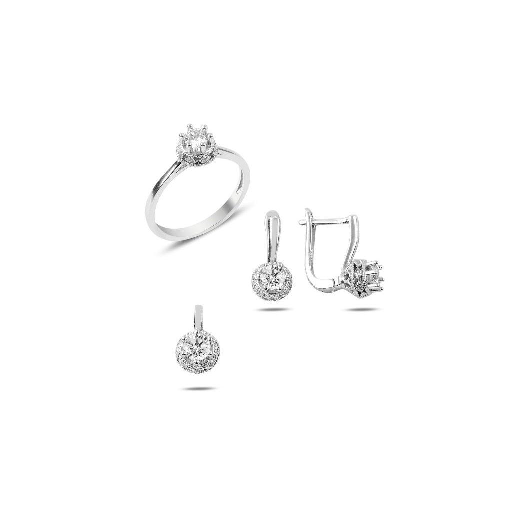 2b5e4a2d8 Strieborná dámska súprava šperkov, prívesok, náušnice a prsteň so zirkónom