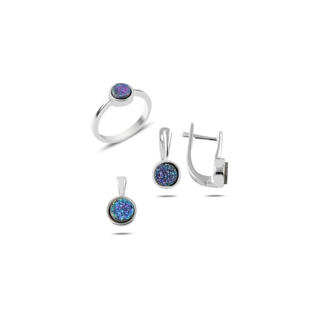 Strieborná súprava šperkov drúza minerálov fialovo modrá farba