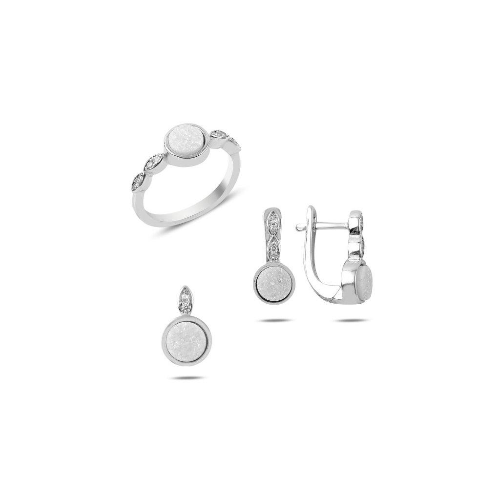 5a0ec4586 Prívesok, náušnice a prsteň s bielou drúzou minerálov Prívesok Ag 1g ...