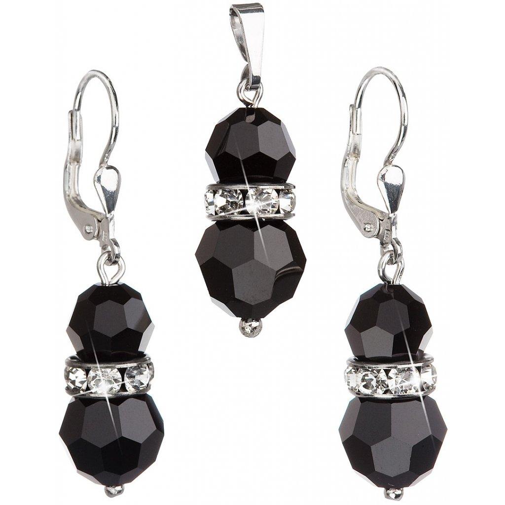 Sada šperkov so Swarovski Crystals Jet - čierne guľaté