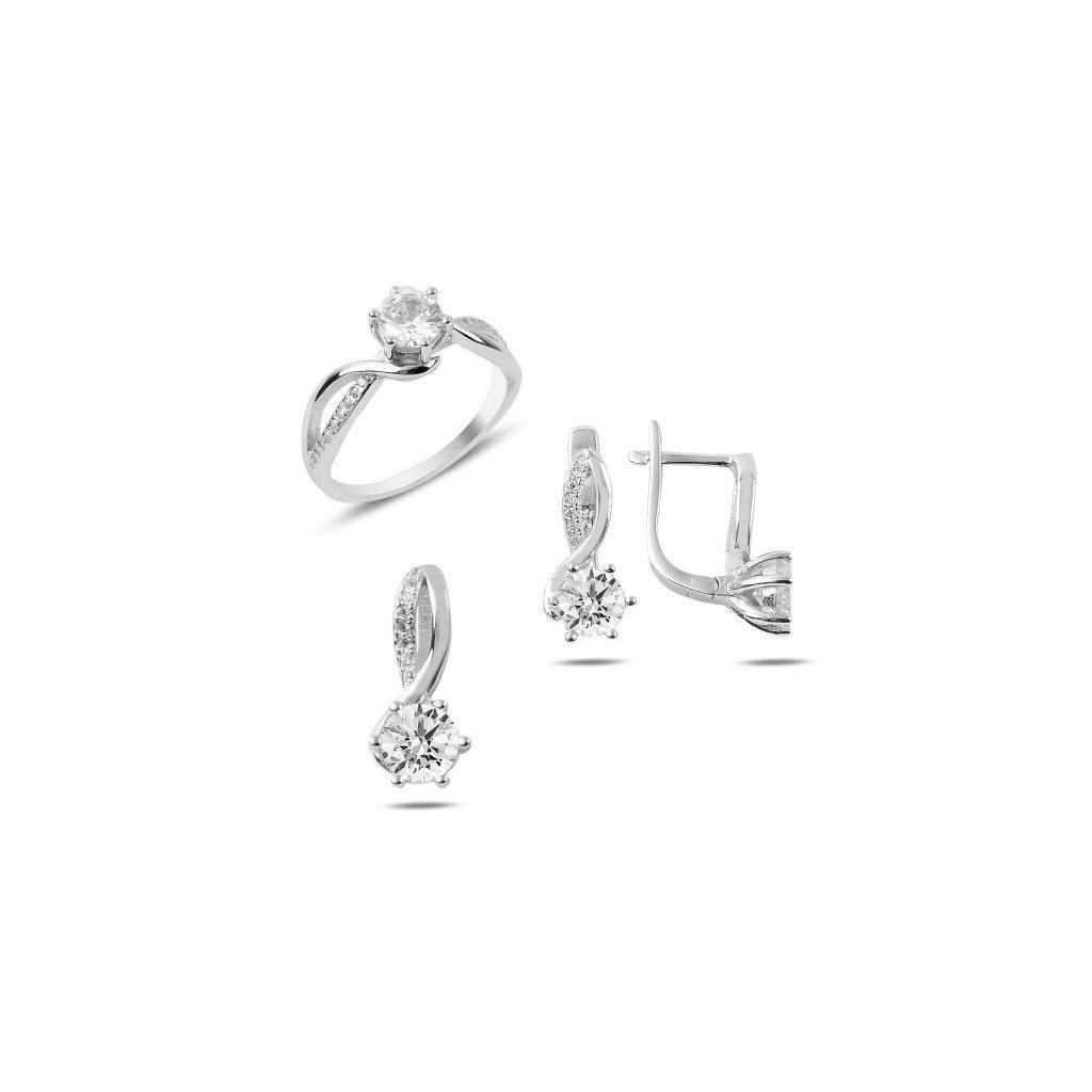 907519ad0 Strieborná dámska súprava šperkov prívesok, náušnice a prsteň so zirkónom