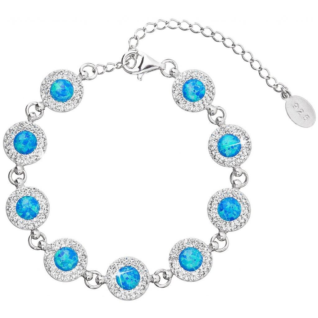 Strieborný dámsky náramok so Swarovski Crystals a modrým synt. opálom 1678230db43