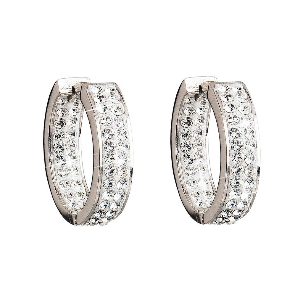 Strieborné dámske náušnice so Swarovski Crystals polkruhy s dvoma radmi krištálikov