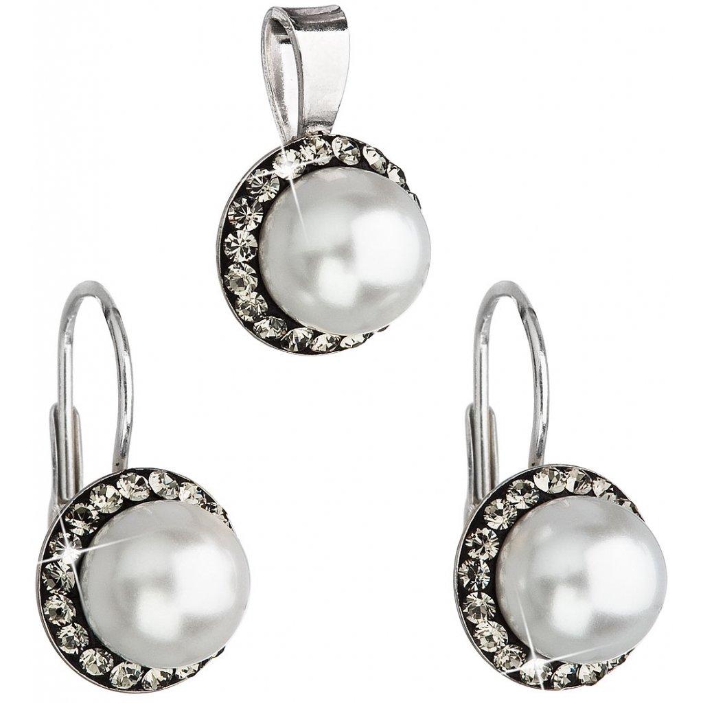 Súprava šperkov s krištálmi Swarovski bielou perlou a zirkónmi