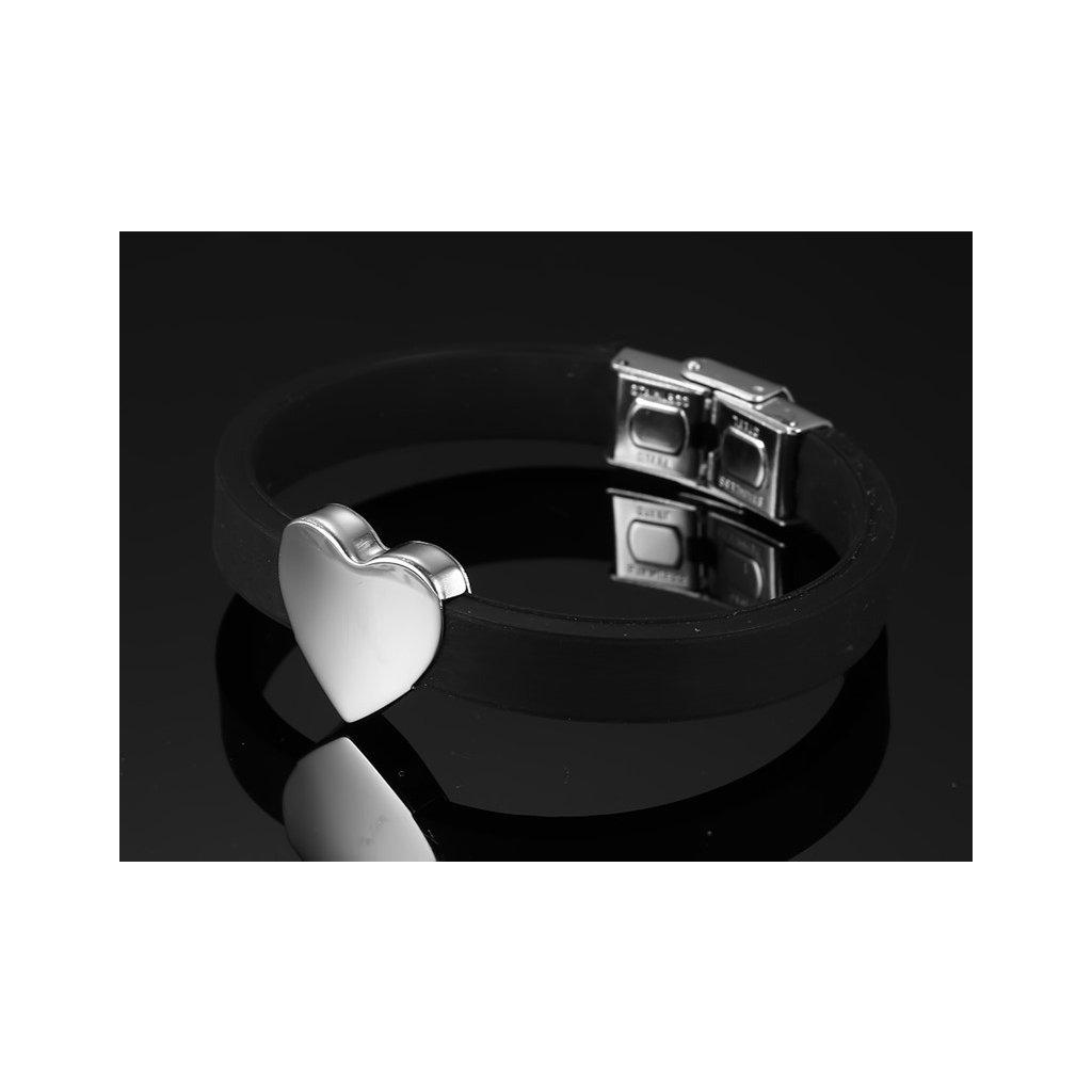 Silikónový náramok so srdiečkom z ocele 2