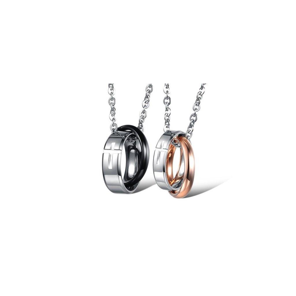 prívesky pre pár prepletené prstene s krížikom