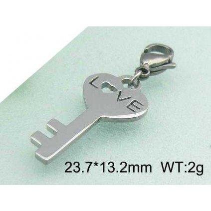 Prívesok Key Love kľúč s nápisom LOVE