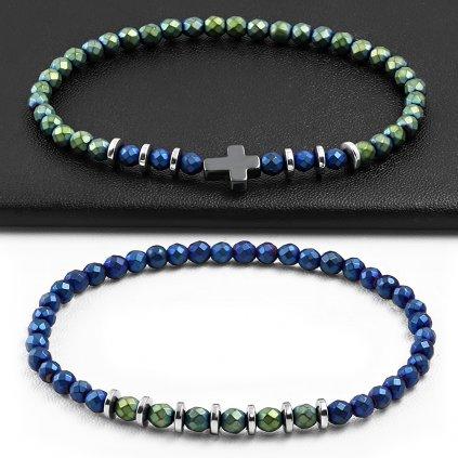 Náramky pre dvoch zeleno modré s krížikom