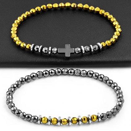 Náramky pre dvoch sivo žlté s krížikom