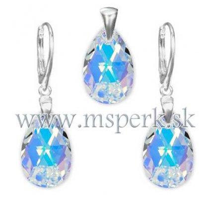 Exkluzívny set SWI crystal v tvare slzy s modrým odleskom