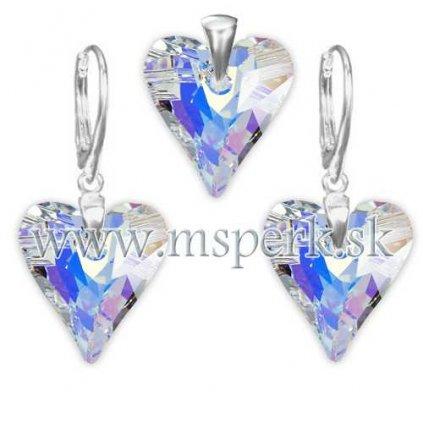 Exkluzívny set SWI crystal v tvare srdca s modrým odleskom 17 mm