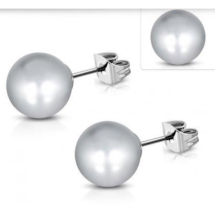 Náušnice perly sivé 10 mm