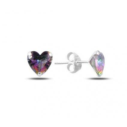 Strieborné náušnice so zirkónom v tvare srdca