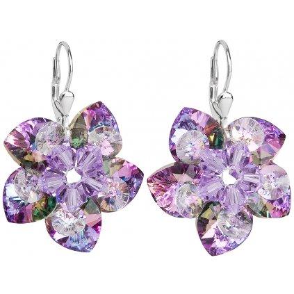 Kvety Swarovski Crystals Vitrail Light strieborné náušnice
