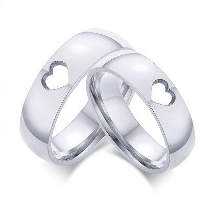 Prstene z chirurgickej ocele so srdiečkom 2 ks 6