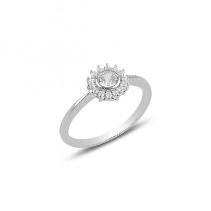 Strieborný dámsky prsteň so zirkónmi  Ag 925/1000 Rh: 1,62 g