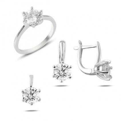 Súprava šperkov s čírymi zirkónmi 7 mm