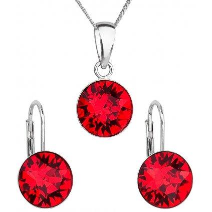 Sada šperkov s krištáľmi Swarovski náušnice, retiazka a prívesok červené