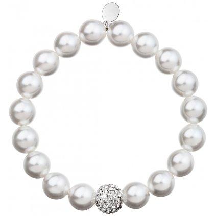 Náramok Swarovski perlový biely s guličkou