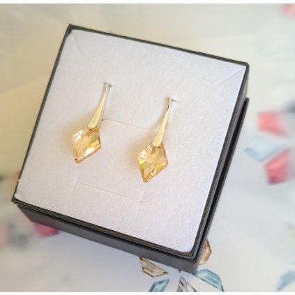 Strieborné náušnice so Swarovski Crystals Golden shadow