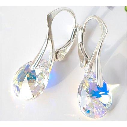 Swarovski Crystals strieborné náušnice Pear Crystal AB obľúbené medzi dievčatami