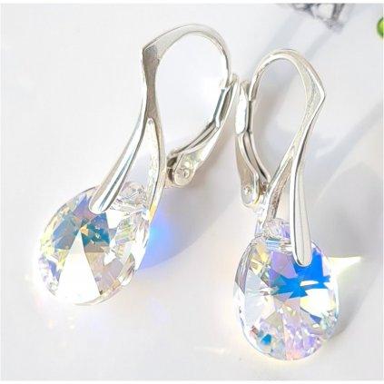 Swarovski Crystals strieborné náušnice Pear CAB