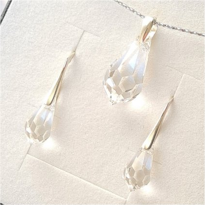 Swarovski Crystals strieborný set Drop kvapky číre
