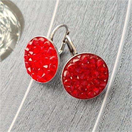 Swarovski Crystals strieborné náušnice červené kruhy