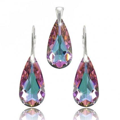 Swarovski Crystals strieborný set Veľké Slzy Crystal Vitrail Light