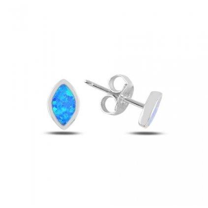 Strieborné náušnice s modrým opálom 8 x 5