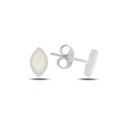 Strieborné náušnice s bielym opálom 8 x 5