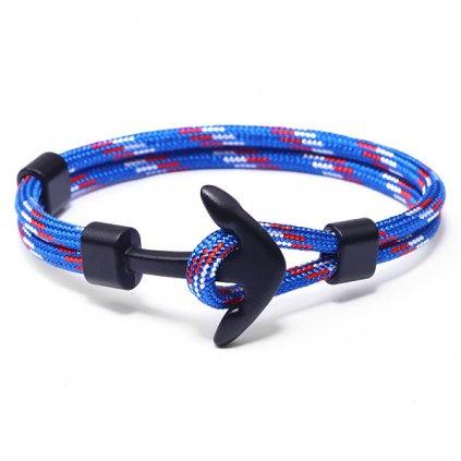 Náramok z modrého lana s čiernou kotvou