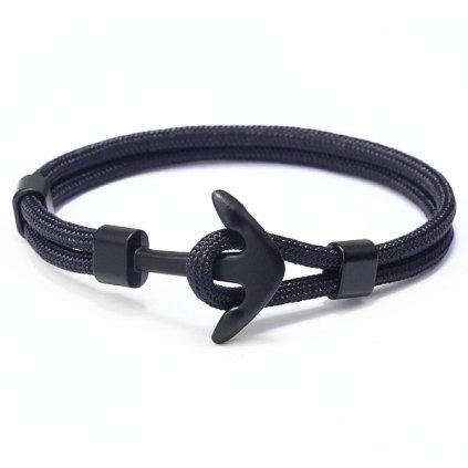 Čierny náramok z lana s čiernou kotvou 1