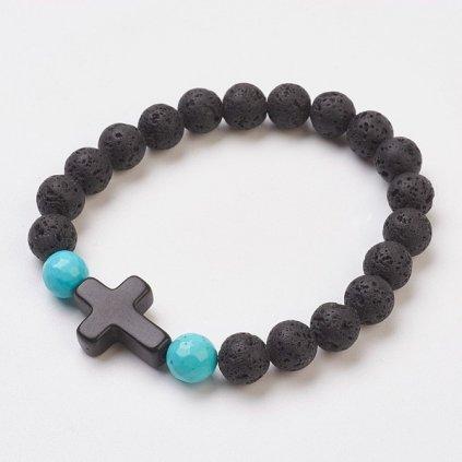 Náramok z lávových kameňov s krížikom 1