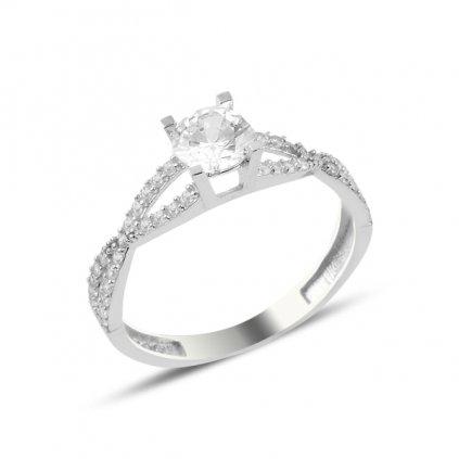 Strieborný dámsky prsteň prepletená osmička s krištálikmi  Ag 925/1000 - 1,57 g