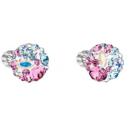 Strieborné guľaté náušnice so Swarovski crystals - water lilly