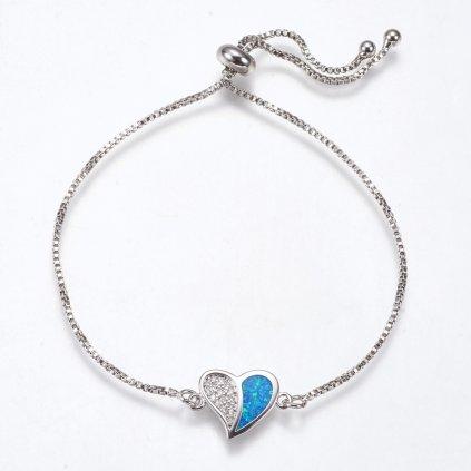 Dámsky nastaviteľný náramok s modrým opálom v srdiečku 1