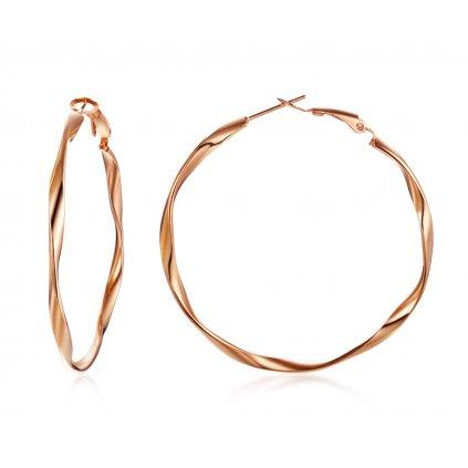 Zatočené náušnice z chirurgickej ocele kruhy ružovo zlaté