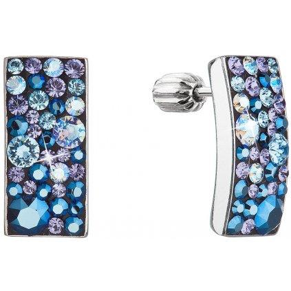 Strieborné náušnice so Swarovski Crystals obdĺžnik - blue style